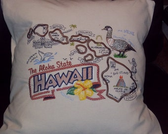 Embroidered State Map Pillow Hawaii