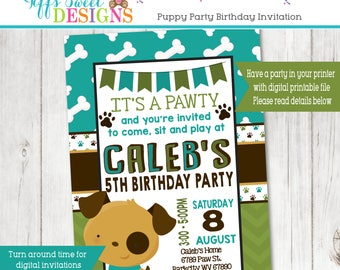 Puppy Party Invitation  - Puppy Paw-ty - Paw party - Dog Invitation - Puppy Invitation