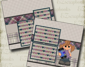 CELL PHONE Girl - 2 Premade Scrapbook Pages - EZ Layout 134