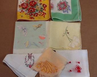 Vintage Handkercheif Lot of 7 Butterflies Hearts Flowers