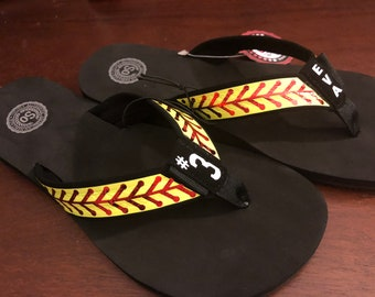 Personalized Women's Softball Flip Flops