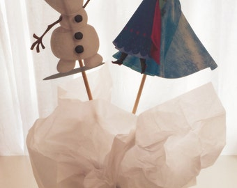 Frozen Princess Centerpiece, Elsa & Anna, Olaf, Princess Birthday, Princess Party Decor, Princess Decorations, Topper, Centerpiece