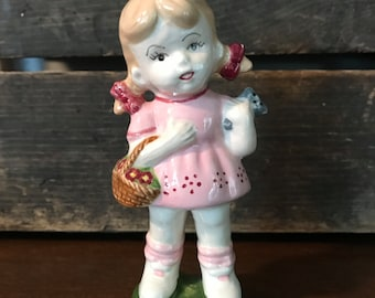 Vintage little girl porcelain doll ~ little girl with basket and cat - pigtail little girl