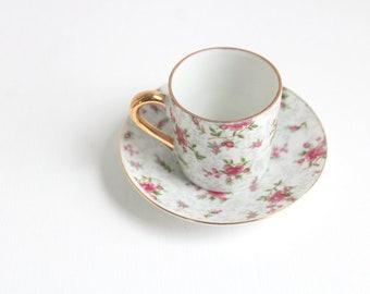 Demitasse Teacup, Pink Teacup, Pink Demitasse Teacup & Saucer Teacup Set Pink and White Teacup Floral Teacup Floral Demitasse Vintage Teacup