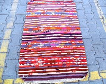 free shipping VINTAGE TURKİSH aydın cecim kilim Anatolian handwoven kilim rug decorative kilim - SİZE : 33'' X 57'' ( 84 cm X 144 cm)