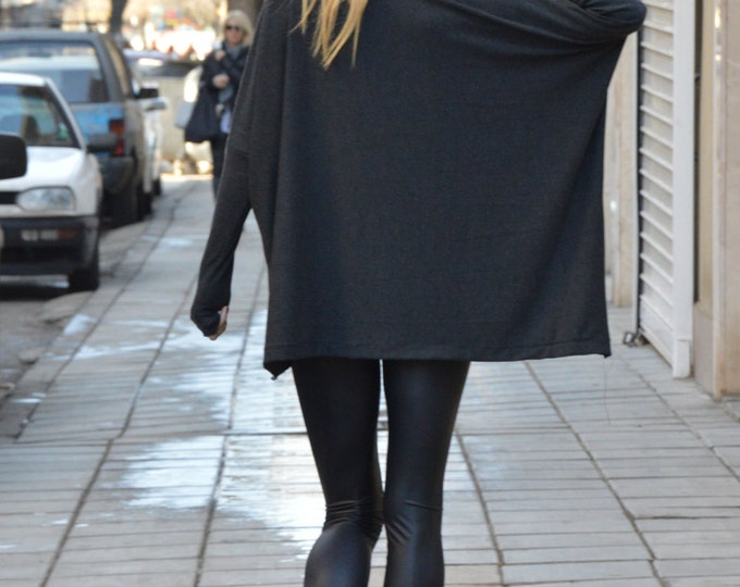 Oversize Dark Gray Blouse, Maxi Knit Tunic, Loose Tunic Top, Asymmetrical Top With Leather by SSDfashion
