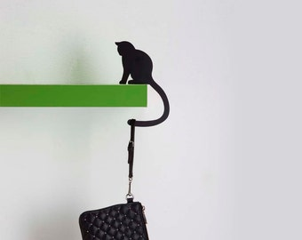 "Balance Hanger // Cat Shaped Hook Rack // Bag and Key-chain Holder // Home Decor Designed Gift // ""Hold It - Precious' Tail"" by ArtoriDesign"