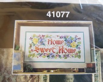NOS Stamped Linen Crewel Kit by Bucilla, Home Sweet Home, New in Package