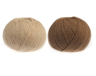 100% Camel hair yarn in light and dark natural/ Mongolian camel hair/pure camel hair yarn/ pure camel wool 4ply 50g ball