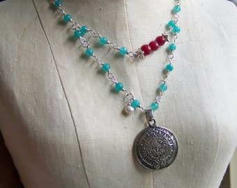 Blue Quartz Necklace, Statement Necklace,Linked Necklace, Mayan Calendar Necklace, Cherry Jade, Red Jade, Aztec Necklace, Etsy, Etsy Jewelry