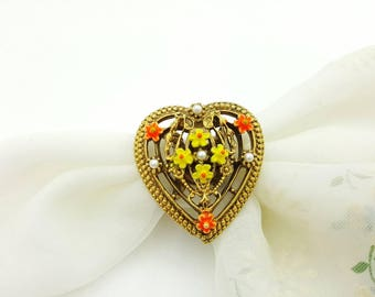 ART Signed  Delicate Floral Heart Scarf Clip and Brooch Victorian Gold tone