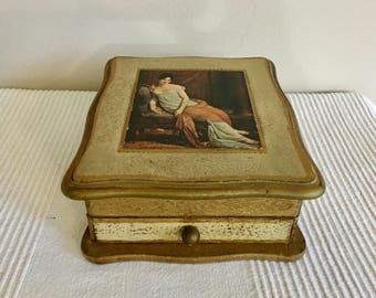 Vintage MELE Musical Wood Jewelry Box