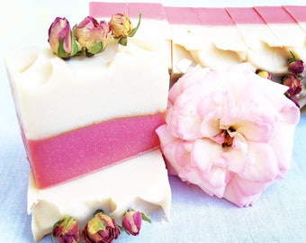 Handmade Rose Natural Soap for Aging Skin with essential oil