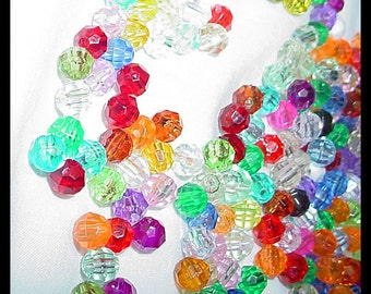 300 Round Faceted Beads Assorted Colors 6mm