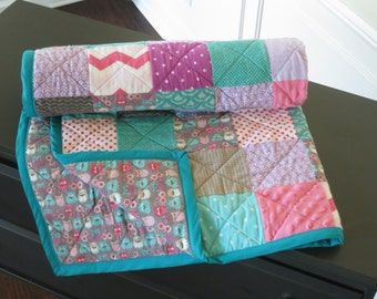 Twin Owl Quilt-Minky and Flannel-Pink Purple Turquoise and Gray-Chevron and Polka Dots