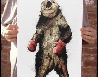 The Original Boxing Bear - 12x18 Officially Signed, Dated and Hand-Stamped Art Print
