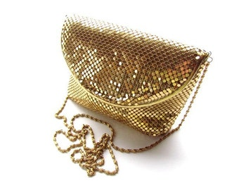Vintage Gold Mesh Purse with Crossbody Chain Strap