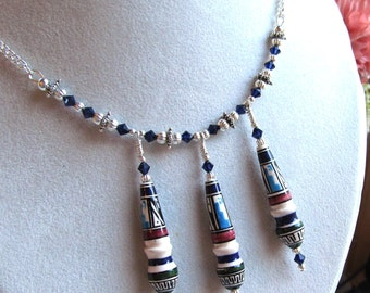 Demi Parure Necklace and Earring Set in Glazed Porcelain and Swarovski Crystals