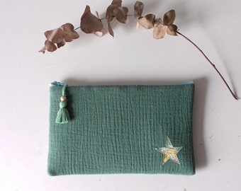 Padded pouch in green cotton gauze and star Liberty Small Susanna