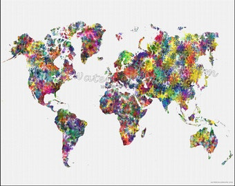 Flower world map etsy flowers world map map of the world world map map of the world gumiabroncs Gallery