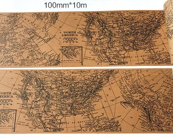 Super Wide Map - Japanese Washi Masking Tape - 100mm Wide - 11 Yard - No discount