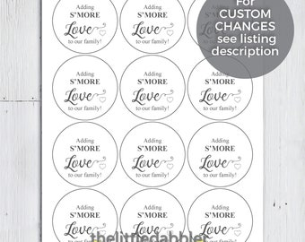 Adding S'more Love to Our Family! -- Printable Custom Round Circle Baby Shower S'more Favor Tags -- PDF