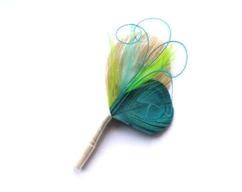 JACOB Ivory, Aqua, Turquoise, and Lime Peacock Feather Boutonniere, Brooch