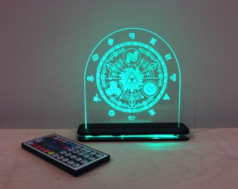 Legend  of Zelda Gate of Time  Edge Lit Laser Cut LED Acrylic Sign with Lighted Wood Base and Remote