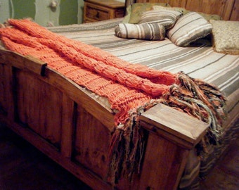 Salmon Coral Colored Decor Throw with Fringe Blanket Afghan