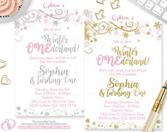 WINTER ONEderlandInvitation, Winter ONEderland, Winter Wonderland, 1st Birthday, Pink and gold, Pink and Silver, Snowflake, Printable