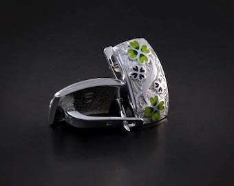 Four Leaf Clover Earrings Silver Green Enamel Green Cloisonne Lucky Charm Earrings Shamrock Earrings Irish Luck Irish Earrings