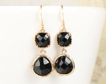 Long Black Gold Earrings, Black Gold Earrings, Black Earrings, Bridesmaid Jewelry, Bridesmaid Gift