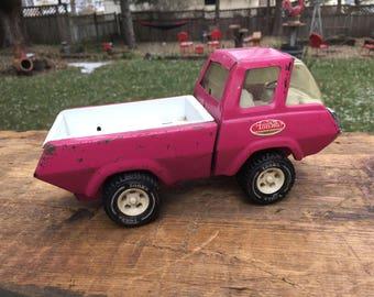 Vintage Pink Metal Tonka Truck Retro Tonka Toy Pickup Truck Photo Display Prop 1970s Tin Toys Hot Pink Truck Garden Art Flower Planter