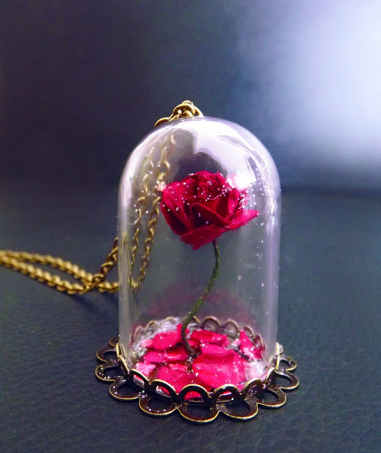 Beauty and the beast rose rose vial necklace snowglobe zoom izmirmasajfo Choice Image