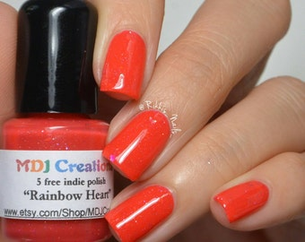 Rainbow Heart ~ red hot jelly with flakies & holo glitter Indie Nail Polish by MDJ Creations