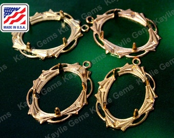 18x13mm Prong Setting Stamping Open Frame Work Raw Brass Made in the USA- 4pcs