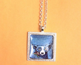 Blue Dog Snowflake Small Square Pendant Necklace with lobster closure