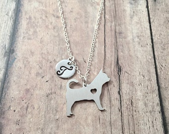 Chihuahua initial necklace - chihuahua jewelry, dog breed jewelry, silver chihuahua pendant, dog breed necklace, chihuahua accessories