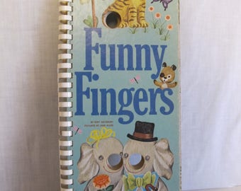 FUNNY FINGERS tall board Golden Book 1971 ring bound children SALISBURY vintage