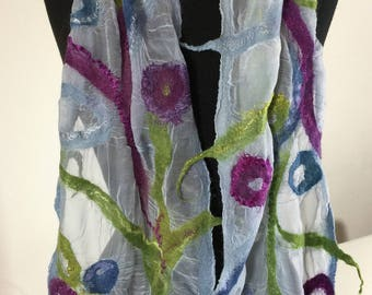 Nuno Felting scarf kit Felting Kit Nuno Scarf Kit Nuno Supplies Silk Gauze Silk Scarf Wet Felting Kit