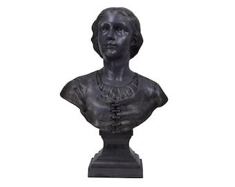 Saint Joan of Arc Pewter Bust by François-Charles de Franoz, Joan of Arc Listening to the Voices Statue, Art Nouveau Joan of Arc Sculpture