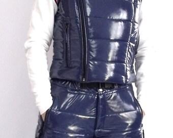 Montessa shiny vinyl puffy vest
