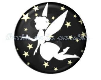 1 cabochon 25mm celestial stars round glass