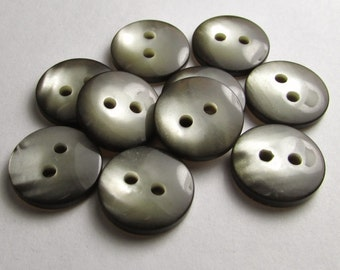 "Smoky Gray/Taupe Glow: 7/16"" (11mm) Buttons - Set of 10 Matching New / Unused Buttons"