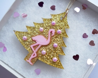 Christmas Tree Kitsch Resin Necklace Flamingo Glamingo Baubles Gold Pink Glitter Kawaii Cute Festive Season Party Decoration Exotic Tropical
