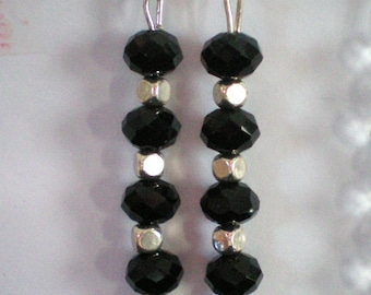 Dangling earrings - 8-10 black Crystal beads and metal - h 7 cms approx