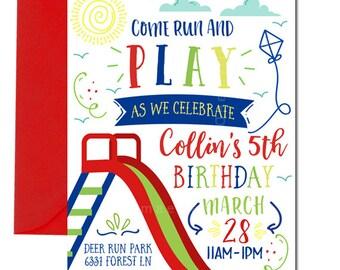 Park Birthday Invitation, Park Party Invitation, Playground Birthday Invitation, Digital, Boy's Park Party, Party at the Park, Boy's Park
