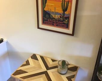 Geometric Table, Wood Handmade, Bedside Table, Nightstand, End Table, Side table, Southwestern