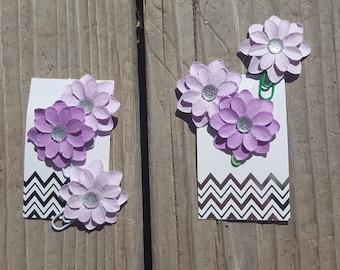 Purple Ombre Flower Clip Set