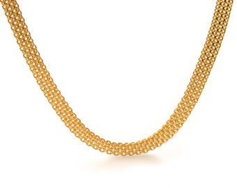 22 Karat Yellow Gold Mesh Link Necklace